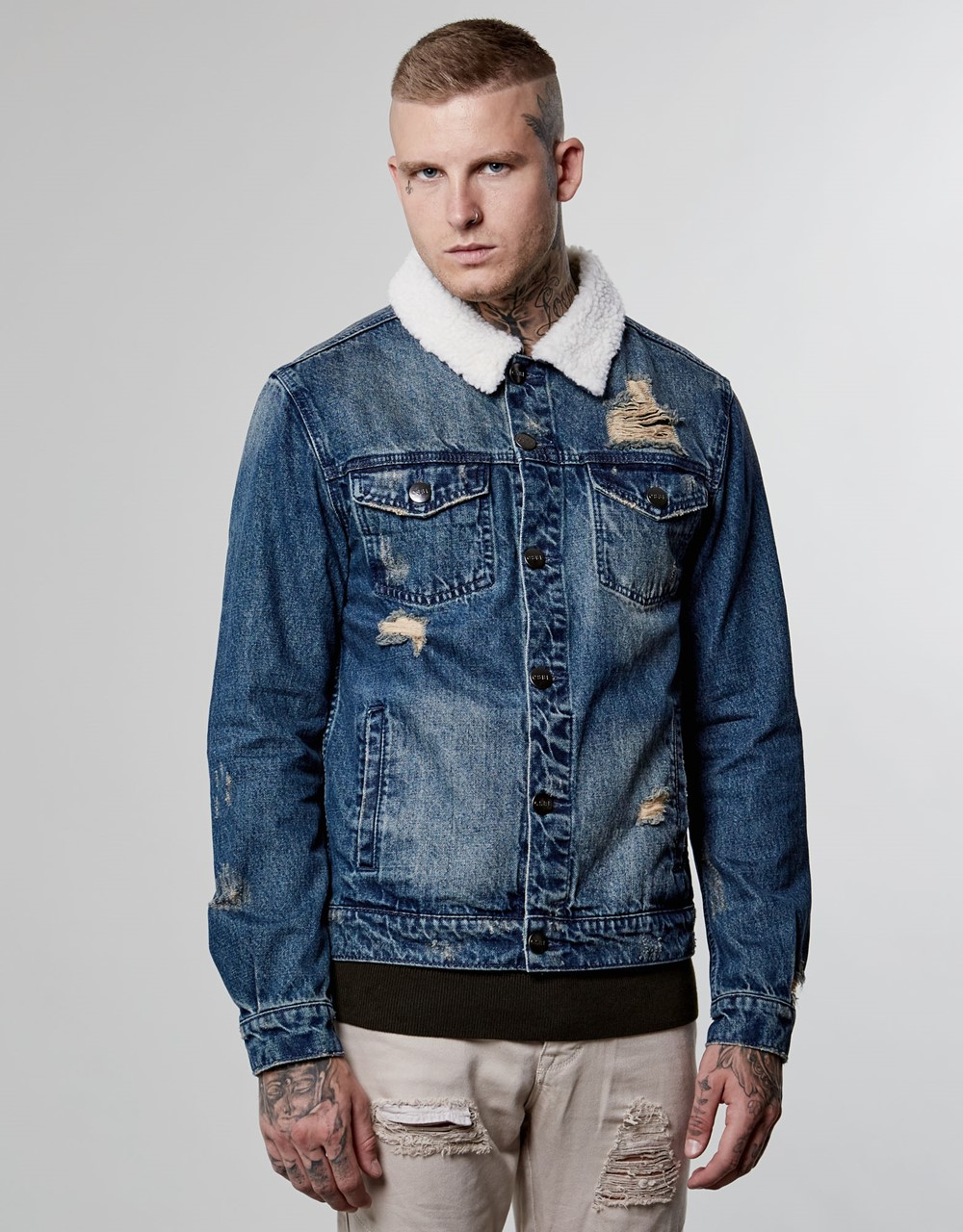 Image of   Classic sherpa denim jacket
