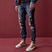 Paneled denim pants
